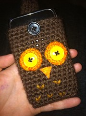 Custom Ordered Owl Iphone Cover/Case (xelishacopeland) Tags: brown cute ipod handmade buttons crochet kitsch case cover owl amigurumi crocheted sleeve hoot iphone itouch