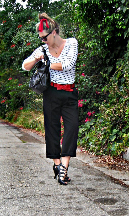 black and white and red outfit+striped lacoste shirt+oscar de la renta trousers