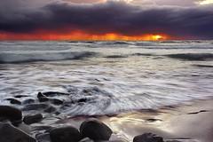 Red Dawn - Pololu Valley, Big Island, Hawaii (PatrickSmithPhotography) Tags: ocean red sea usa seascape beach rain clouds landscape hawaii lava sand unitedstates bigisland pololu