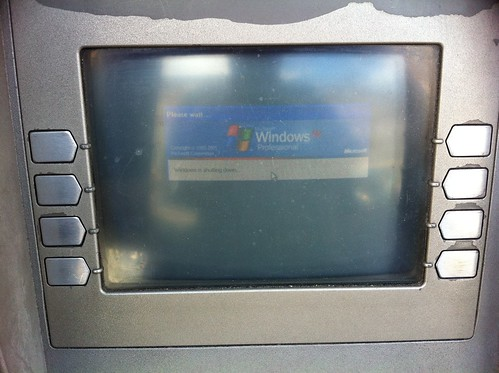An ATM machine running Windows XP. This one is shutting down.