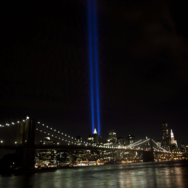 9/11 WTC Tribute in Light, from the Brooklyn Bridge Park