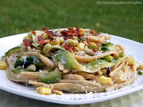 Zucchini Ribbons and Linquine with Bacon Corn Pesto