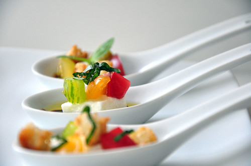 Heirloom Tomato and Burrata Caprese Salad Spoons