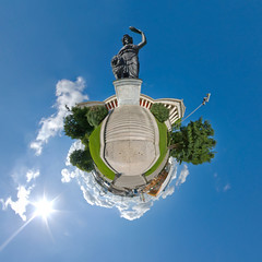 Munich: Bavaria Statue & Theresienwiese & Oktoberfest - Little Planet Munich (daitoZen) Tags: city travel blue summer sky panorama cloud oktober sun monument beer statue festival germany advertising munich mnchen bayern deutschland bavaria photography idea perfect europa europe view pentax sommer ad perspective wideangle 360 landmark panoramic oktoberfest monaco september fisheye journey commercial planet bronzestatue bier unusual tradition fest sonne birra westend 360x180 wiesn idee 2010 bavarian kugel hintergrund theresienhhe stereographic hugin vacaction theresienwiese  ruhmeshalle altweibersommer kugelpanorama littleplanet da1017 schwanthaler theresienhoehe bavariastatue weisblau panomaxx stadtgetty2010 giap09102 gettyimagesgermanyq1
