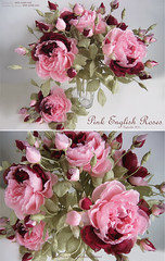 PINK ENGLISH ROSES (kmflower) Tags: flowers english rose fleurs handmade silk arrange