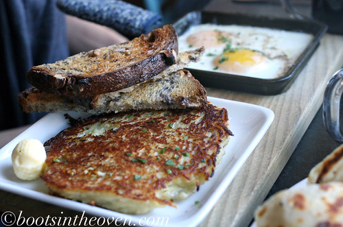 Baked Eggs: served with walnut toasts and potato pancake ($8)