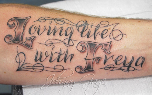 loving life lettering tattoo