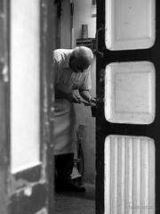 l'artigiano (fabia.lecce) Tags: street door people italy blackwhite craft artigiano oldmen streetshot ostuni handicraftsman