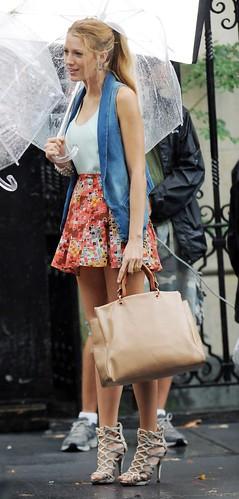 blake lively skirt heels bag
