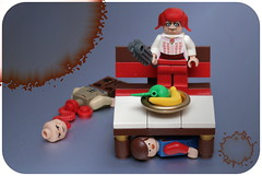 [20/365] Bloody Mary (pasukaru76) Tags: bench lego bloodymary splatter trp canon100mm totw bloodandgore benchmonday minifig365 hidingunderfurniture