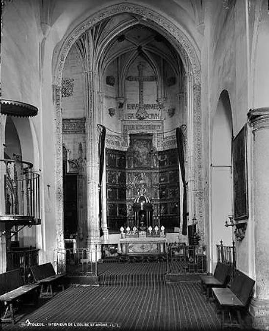 Iglesia de San Andrés en Toledo hacia 1880. Fotografia de Levy