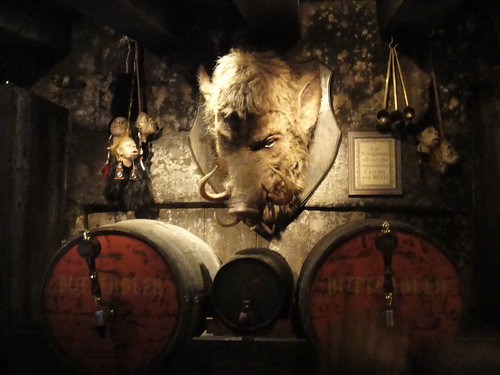 Wizarding World of Harry Potter - behind the bar at the Hog's Head pub