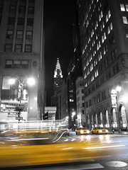 In the Fifth Avenue (stephenhaworth) Tags: usa newyork night noche unitedstates manhattan taxi fifthavenue estadosunidos nuevayork desaturado quintaavenida christlerbuilding