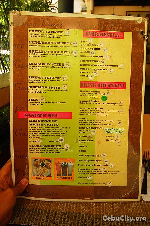 Chinois City Cafe Menu