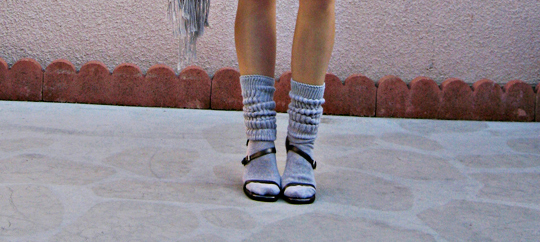 scrunch socks and gucci heels