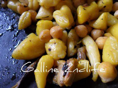 Pizzicotti e ceci con verdure grigliate e  zafferano