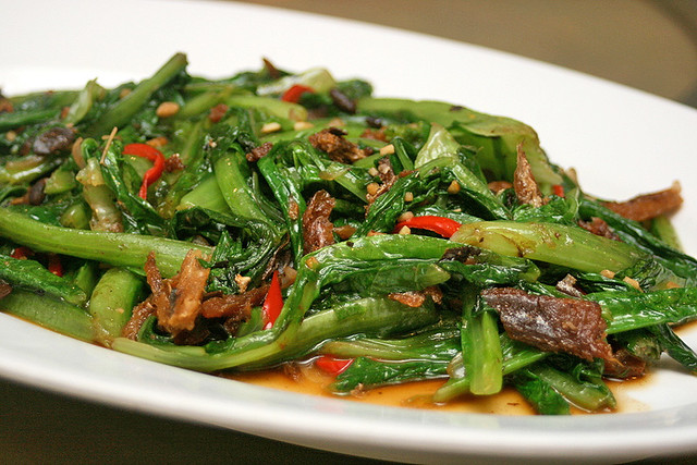 Stir Fried Yau Mak Choy with Dace Fish