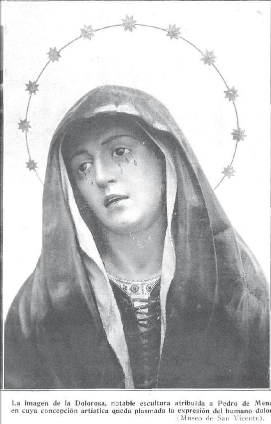 Dolorosa de Pedro de Mena en el Museo de San Vicente de Toledo. Revista Viajes por España, 1929. Foto Rodríguez