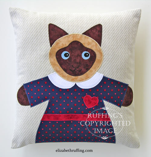 Siamese Hug Me! Kitty appliqued decorative throw pillow by Elizabeth Ruffing