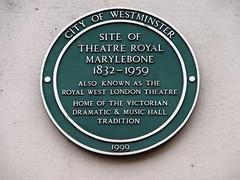 Photo of Theatre Royal Marylebone green plaque