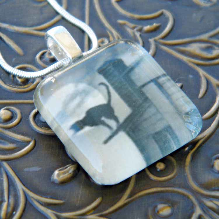 Cat on a Roof Glass Pendant Necklace