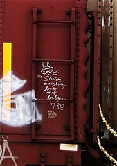"Sluto ""Everybody Loves My Baby..."" 7/10 (mightyquinninwky) Tags: railroad train graffiti streak character tag graf tracks railway tags tagged railcar rails boxcar ladder graff graphiti freight 710 2010 trainart fr8 railart spraypaintart moniker reflectivetape freightcar sluto boxcarart freightart taggedboxcar paintedboxcar paintedrailcar taggedrailcar everybodylovemybaby 11223344556677 carfireonflickr charactersformyspacestation"
