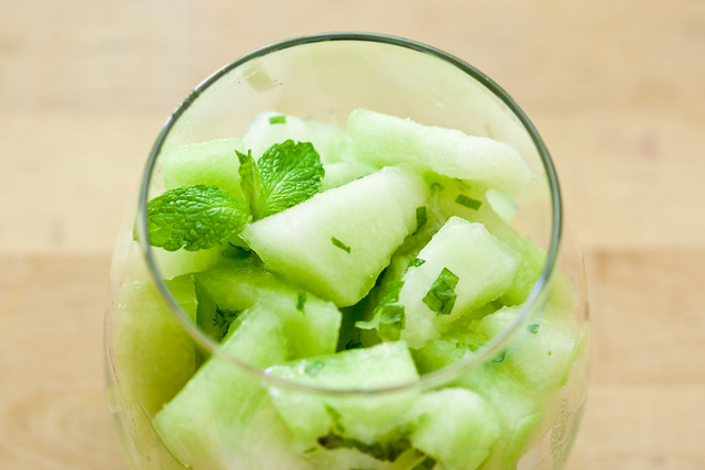 honeydew with lime and mint