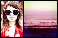 fading summer memories. (the*Glint - new portfolio online http://www.thegli) Tags: pink portrait people woman beach water girl beauty rose canon glasses eau femme shades story end 5d fade fin lunettes plage glint tons dissolve dyptich iphone hipsta dytique theglint hipstamatic