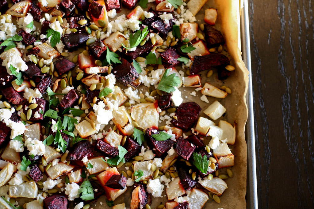 Roasted Root Vegetables w/ Feta & Pumpkin Seeds