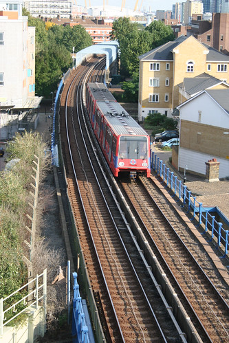DLR train heading Westwards