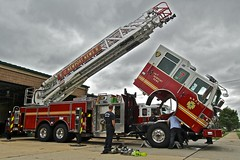 Fixing the Engine (mrbrkly) Tags: news station fire virginia fighter no engine 7 newport maintenance ladder
