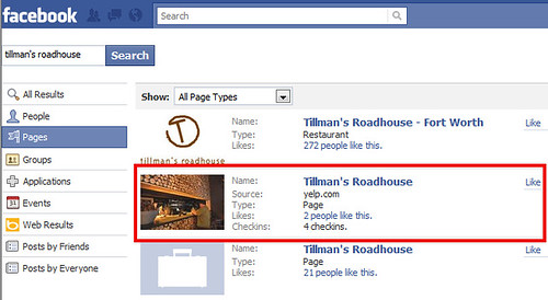 Tillman's Roadhouse Yelp listing on Facebook