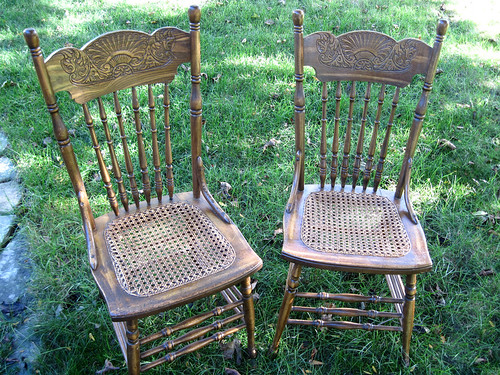 2 New Caned Chairs