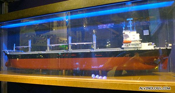 A model ship outside QEII