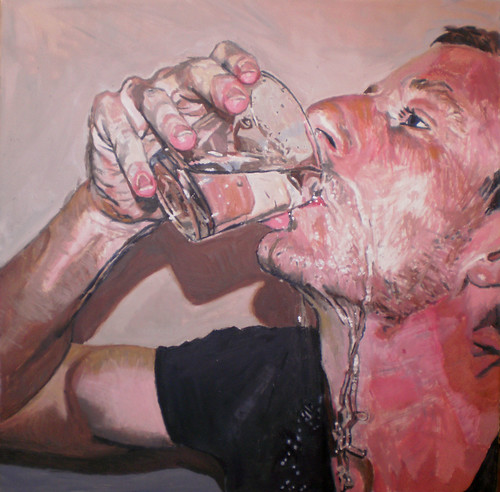 Self portrait drinking water