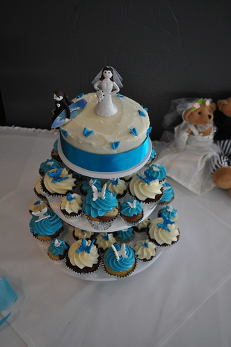 Turquoise and white butterfly wedding