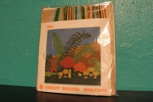 Retro Vintage 70s Mushroom Needlepoint Art