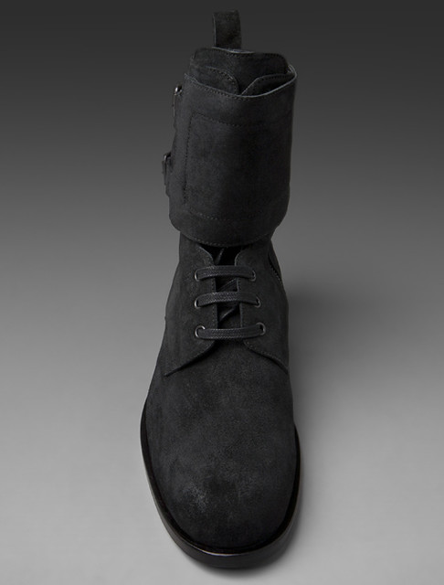 Common Projects x Robert Geller Combat Boot in Black - front on. www.revolveclothing.com/displayproduct.jsp?product=COMM-M..
