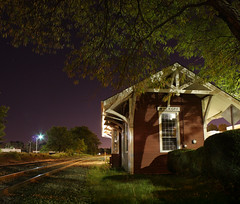 Wyckoff Station ( estatik ) Tags: road county street new york old longexposure light panorama station st vertical night train dark lights store nocturnal main tracks nj rail rr historic thrift ave western jersey depot bergen avenue nocturne susquehanna cty nighthawks bergan wyckoff nysw