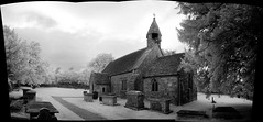 Littleton IR panorama (J e n s) Tags: uk bw autostitch panorama church cemetery composite pentax september 2010 zoomlens littelton da18250 istdsir jrpq irwithmodifiedcamera