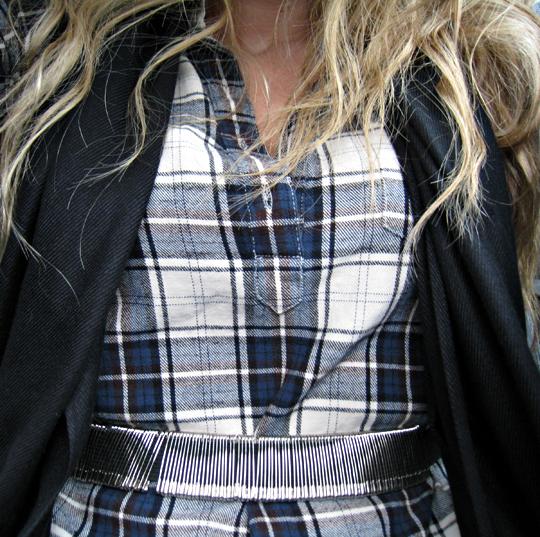 plaid flannel tunic and safety pin belt, trovata plaid boyfriend shirtdress