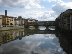 Ponte Vecchio Bridge (Sanctuare: Private Hideaways) Tags: bridge italy water reflections river florence worldwarii tuscany arno pontevecchio arnoriver historicbridges oldbridges pontevecchiobridge florencelandmarks tuscanybridges flickrtravelaward florencebridges