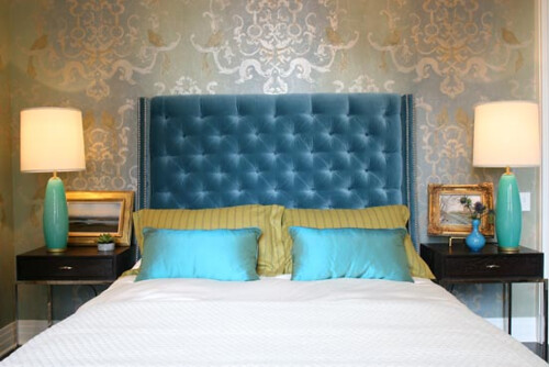 summer thornton blue velvet tufted nailhead headboard bird silver wallpaper bedroom