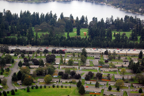 Aerial view of I-5 near American Lake