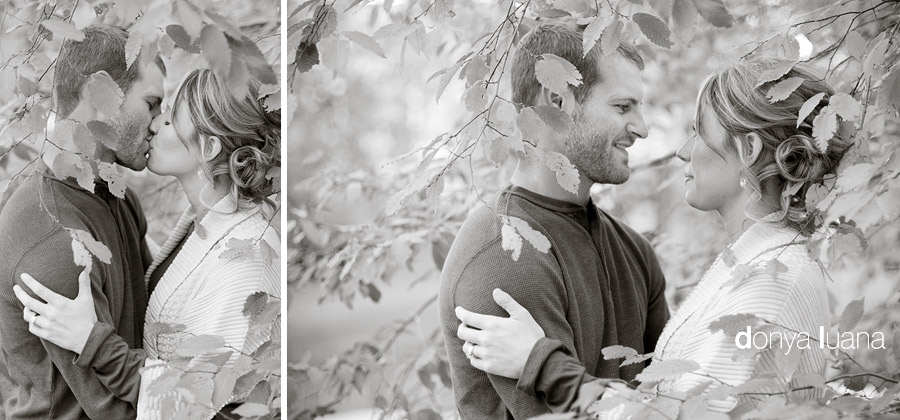 Fall portraits for a Twin Cities couple surrounded by leafs