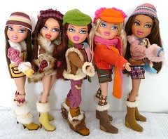 Bratz Campfire Winter Adventure Dolls (migglemuggle) Tags: bratz campfire winter adventure dana phoebe meygan cloe yasmin mini skirt trousers pink yellow orange brown fur doll boxed 2005 corduroy jacket buckled belt scarf gloves mitten