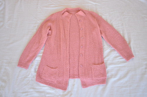 vintage dusty pink waffle knit cardigan