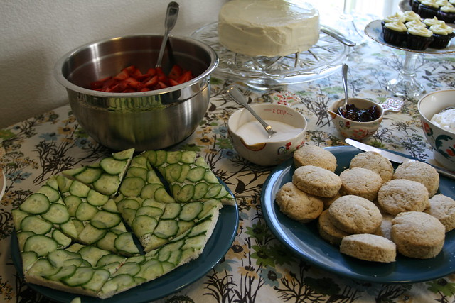 cucumber sandwiches, fresh strawberries and scones