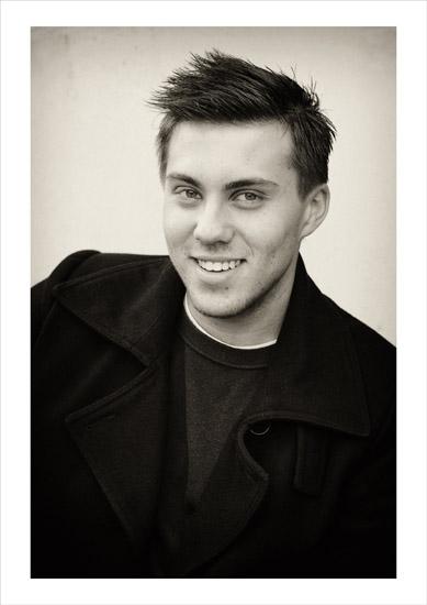 Black and white fashion photography, location portrait style, Josh 2