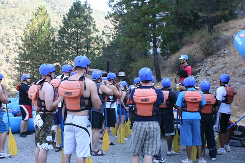 middle fork american guests listening to white water safety talk